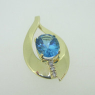 14K Yellow Gold Blue Topaz Slide Pendant with Diamond Accents