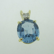 14K Yellow Gold Oval Blue Topaz Slide Pendant with Diamond Accent