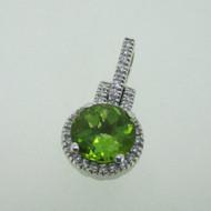 14K White Gold Green Peridot Diamond Halo Pendant