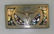 Southwestern Alpaca Mexico Belt Buckle with Long Horn