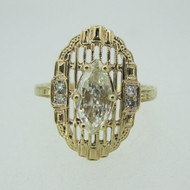 Vintage 14k Yellow Gold .84ct Marquise Cut Diamond Ring with Filigree and Diamond Accents Size 11