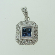 18k White Gold Approx .50ct TW Sapphire Pendant with Diamond Accents