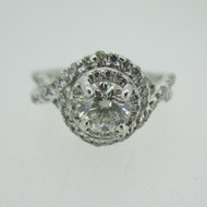 14k White Gold .73ct IGI Certified LEO Diamond Ring with Twisting Halo Design Size 6 1/4