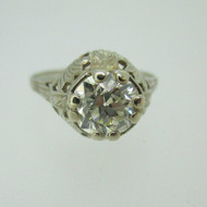 Vintage 14k White Gold 1.40ct European Cut Diamond Solitaire with Filigree Accents Size 7 1/2