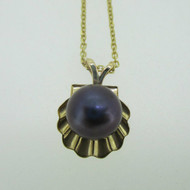 14K Yellow Gold Seashell with Single Pearl Necklace