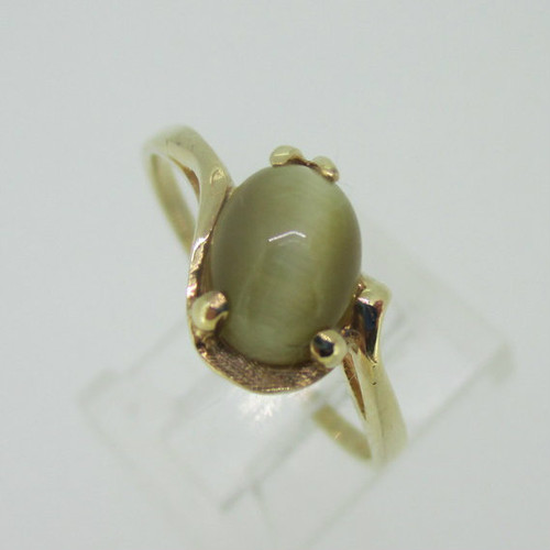 10K Yellow Gold Cats Eye Ring Size 9