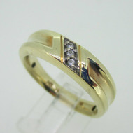 10K Yellow Gold Diamond Mens Band Ring Size 10.5