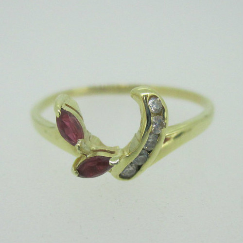 14K Yellow Gold Ruby & Diamond Wrap Ring Size 7