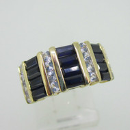 14K Yellow Gold Created Blue Sapphire & White Sapphire Ring Size 6