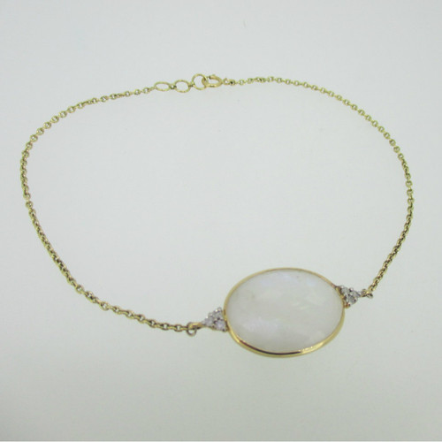 18K Yellow Gold Moonstone Bracelet with Diamond Accents