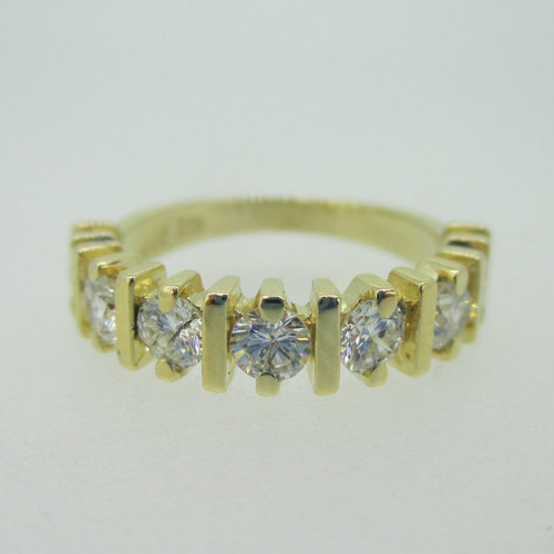 14K Yellow Gold Approx .90ct TW  Diamond Band Ring Size 6