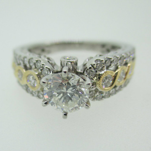 14k White Gold GIA Certified .88ct Round Brilliant Cut Diamond Ring with Yellow Gold and Diamond Accents Size 7