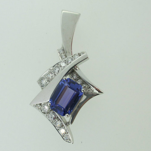 14k White Gold 3.95ct Tanzanite Pendant with Approx 1.50ct TW Diamond Accents