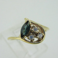 10K Yellow Gold Tourmaline with Diamond Accents Ring Size 6.25