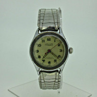 Vintage Louvic 17J Swiss MOU Military Style Silver Tone Stainless Steel Watch Parts (B8631)