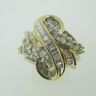 14k Yellow Gold Approx 1.0ct Diamond Fashion Cluster Ring Size 7