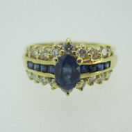 14k Yellow Gold Sapphire Ring with Approx .50ct TW Diamond Accents Size 8 1/2