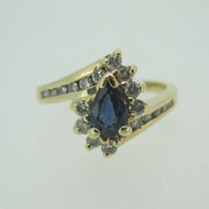 14k Yellow Gold Pear Shaped Sapphire Ring with Approx .25ct TW Diamond Accents Size 6 1/2