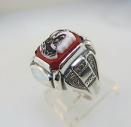 Sterling Silver Ring with Intaglio on Red Orange Stone. Size 8 ¼