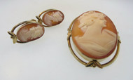 Vintage Van Dell Conch Shell Cameo Pendant and Earring Set*