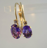 14k Yellow Gold Oval Cut Amethyst Hoop Earrings with Diamond Accent