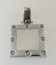 14k White Gold Mother of Pearl with Diamond Pendant