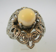 W Germany Silver Tone Adjustable Filigree and Pearl Ring *