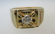 14k Yellow Gold Approx .38ct TW Round Brilliant Cut Diamond Ring Size 9 ½