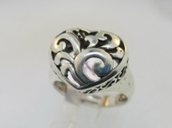 Sterling Silver Filigree Heart Ring Size 7.75
