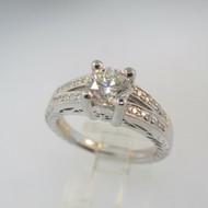 Platinum Approx 1.21ct TW Round Brilliant Diamond Ring Size 6 1/2