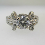 14k White Gold Approx 1.26ct TW Round Brilliant Cut Diamond Ring Size 6 1/2