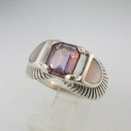Sterling Silver Emerald Cut Amethyst Ring with Mother of Pearl Accents Size 8