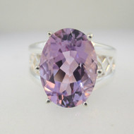 Sterling Silver Large Oval Cut Amethyst Ring Size 9