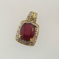 10k Yellow Gold Created Ruby with Diamond Accent Pendant