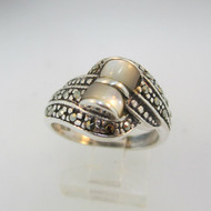 Sterling Silver Mother of Pearl and Marcasite Ring Size 8 *
