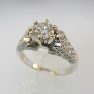 18k White Gold Approx 1.07ct TW Round Brilliant Cut Diamond with Accent Diamonds Surrounding Mount. Size 6 ¼