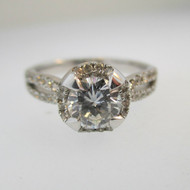 14k White Gold Approx .73ct TW Round Brilliant Cut Diamond Halo with Accent Diamonds Surrounding Mount. Size 6 ¼