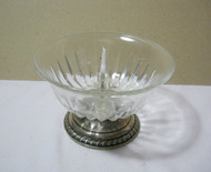 Vintage Glass Pedastal Bowl with Divider and Sterling Silver Base