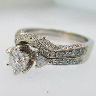 14k White Gold .52ct Round Brilliant Cut Certified Diamond Engagement and Wedding Band Set Size 7