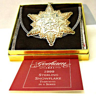 1999 Gorham Sterling Silver Snowflake Christmas Ornament with Original Box and Pouch (500.931S CB)