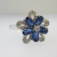 10k White Gold Sapphire with Diamond Flower Ring Size 7