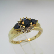 10k Yellow Gold Round Sapphire with 2 Pear Shaped Sapphire and Diamond Accents Size 8 1/2