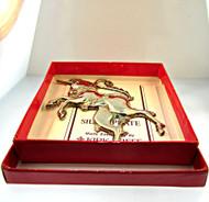 1985 Williamsburg Kirk Stieff Silverplate Christmas Unicorn Ornament with Original Box (500.932C CB)