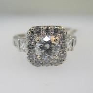 14k White Gold .79ct Round Brilliant Cut Diamond Halo Ring Size 7 3/4