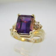 14k Yellow Gold Amethyst and Diamond Ring Size 6 3/4
