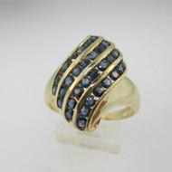 14k Yellow Gold Sapphire Fashion Ring Size 8 1/4