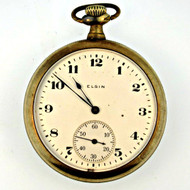 Antique 1918 Elgin National Watch Co. 7j 12s Gold Filled Pocket Watch Parts Steampunk (3004177CB)