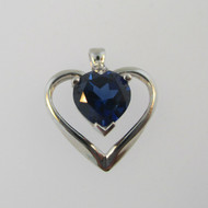 10k White Gold Created Sapphire and CZ Heart Pendant