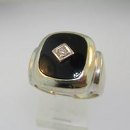 10k White Gold Black Onyx and Diamond Ring Size 8