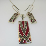 Sterling Silver Marcasite and Red Enamel Necklace Earring Set